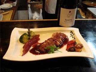鴨のマディラ酒ソースとワイン